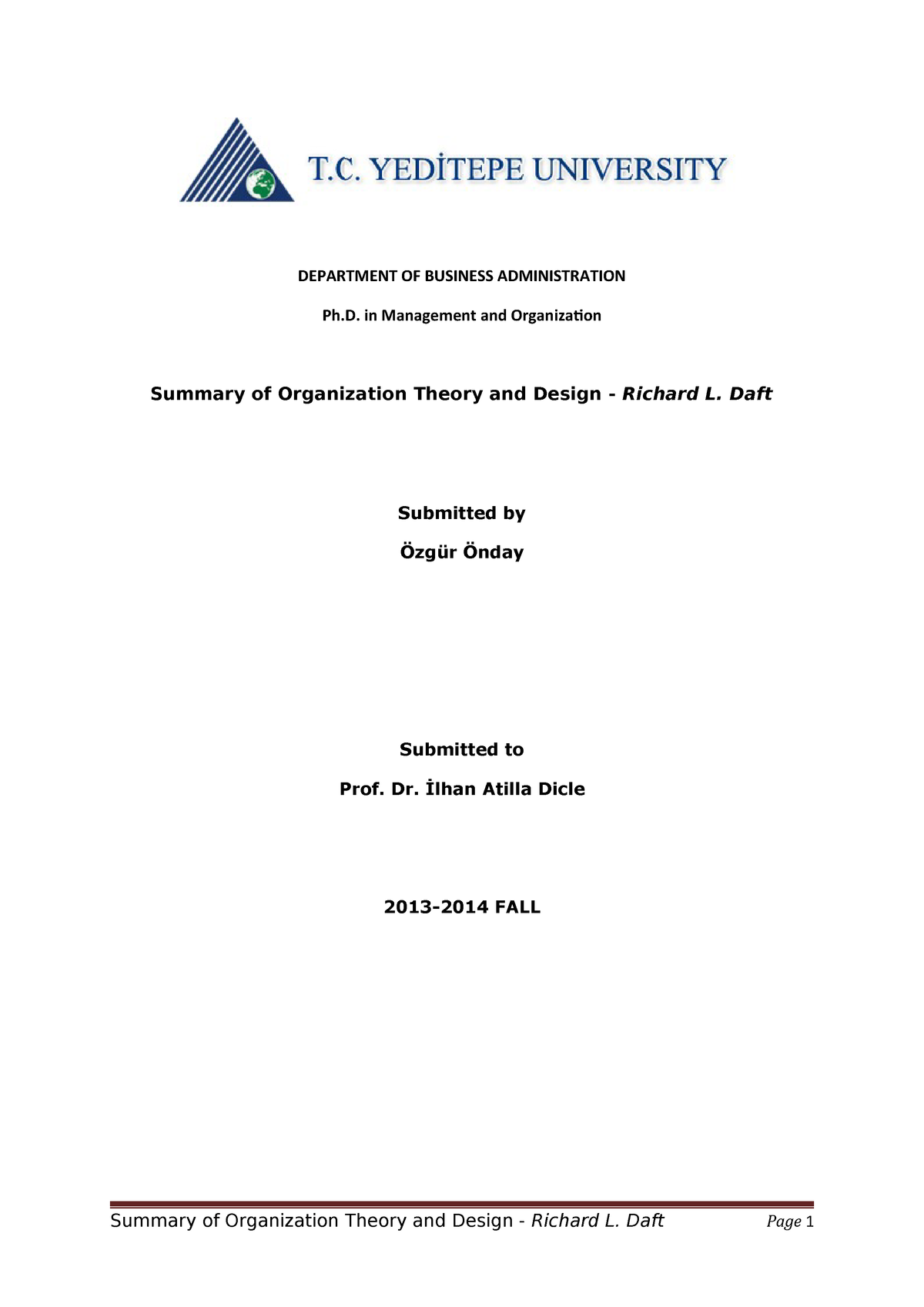 Organization Theoryand Design Summary Concordia Studocu