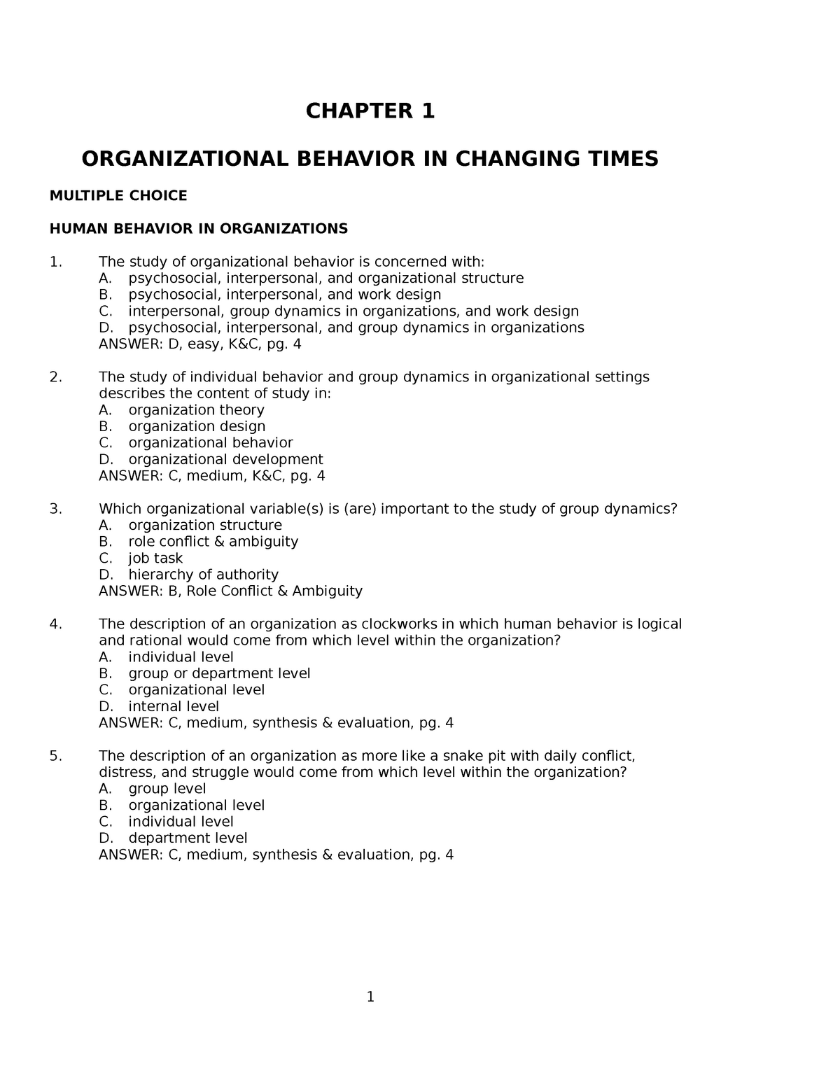 Orgainzation behaviour mcq questions - BBS-201 - StuDocu