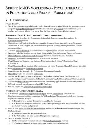 Skript M-KP-Vorlesung - Psychotherapie in Forschung und Praxis