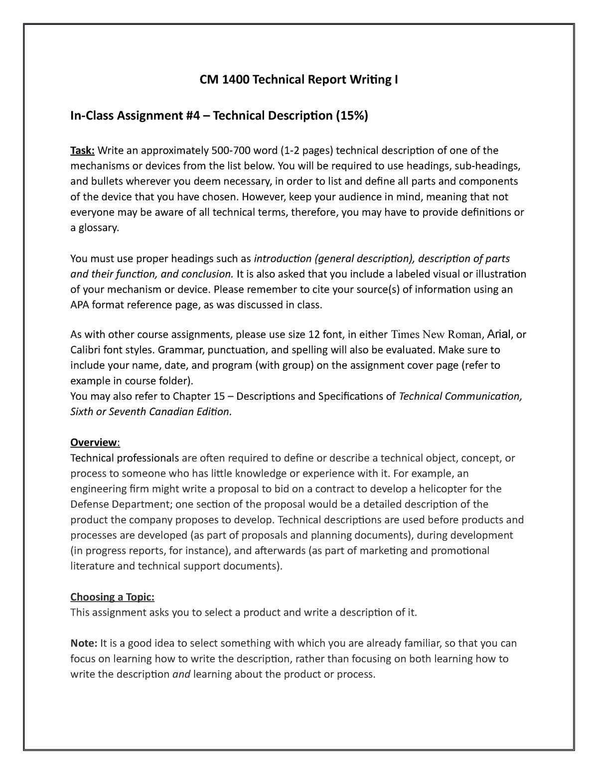 In-Class Assignment #4 -Technical Description - CM1400