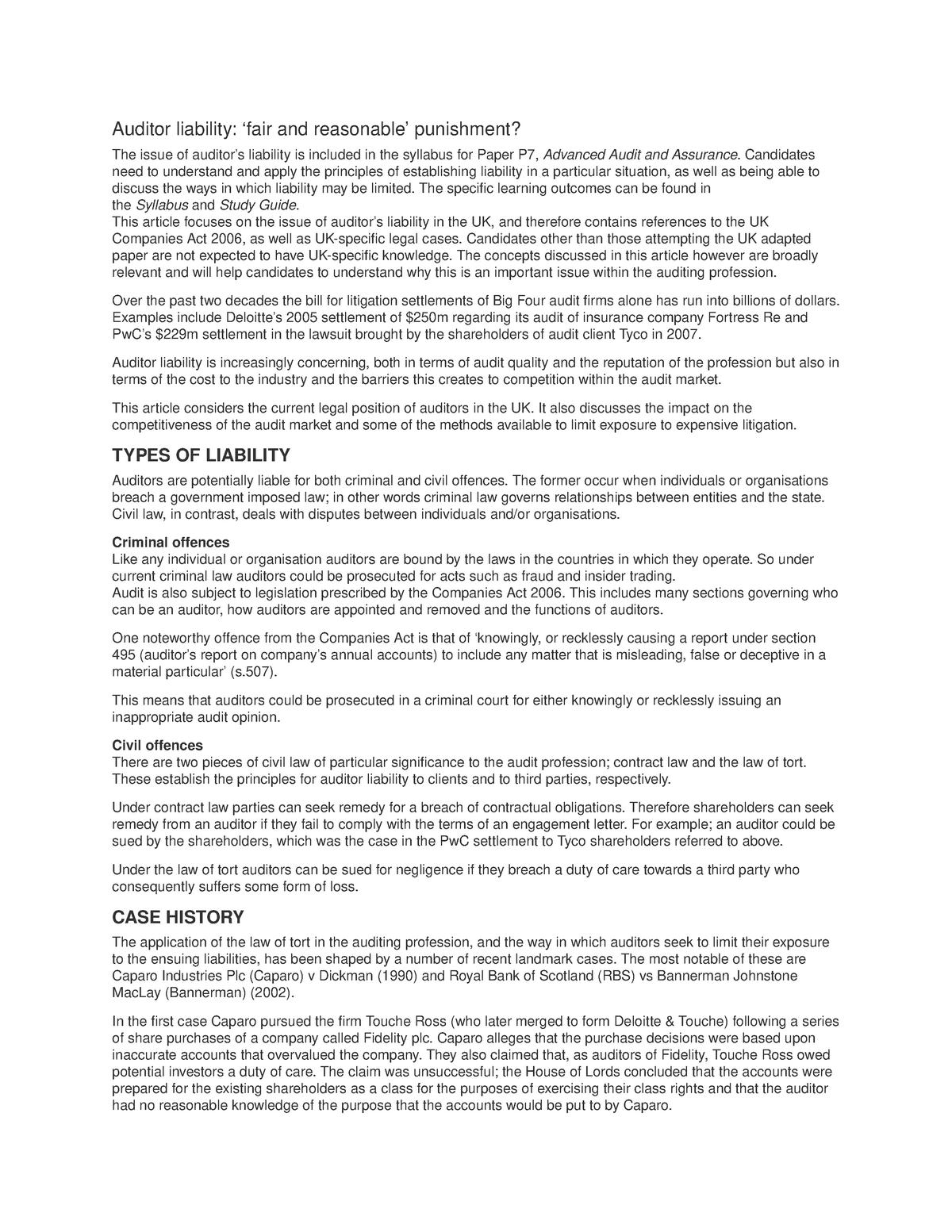 Auditor liability - audit - PSYC90008 - StuDocu
