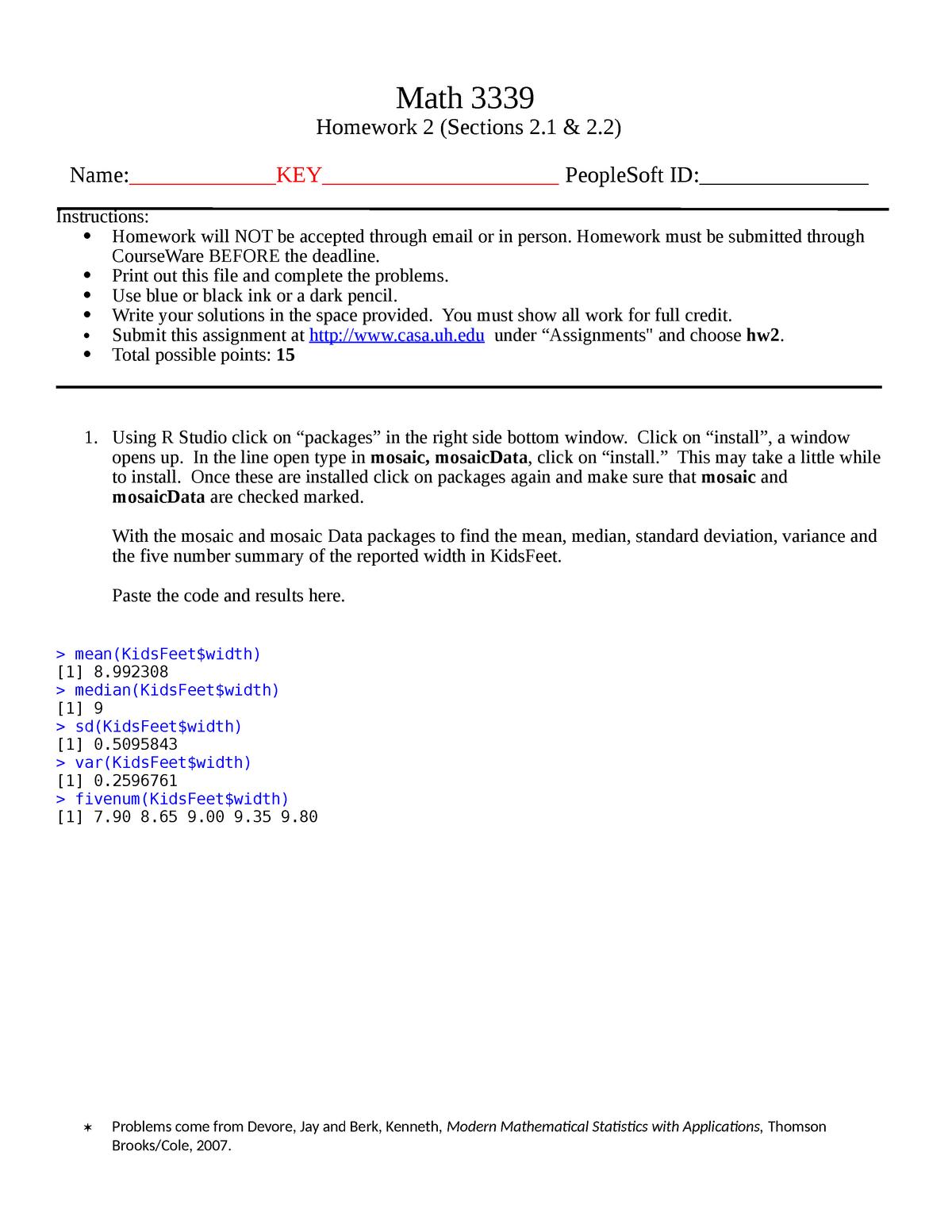 Hw2 key - MATH 3339 : Statistics for the Sciences - StuDocu