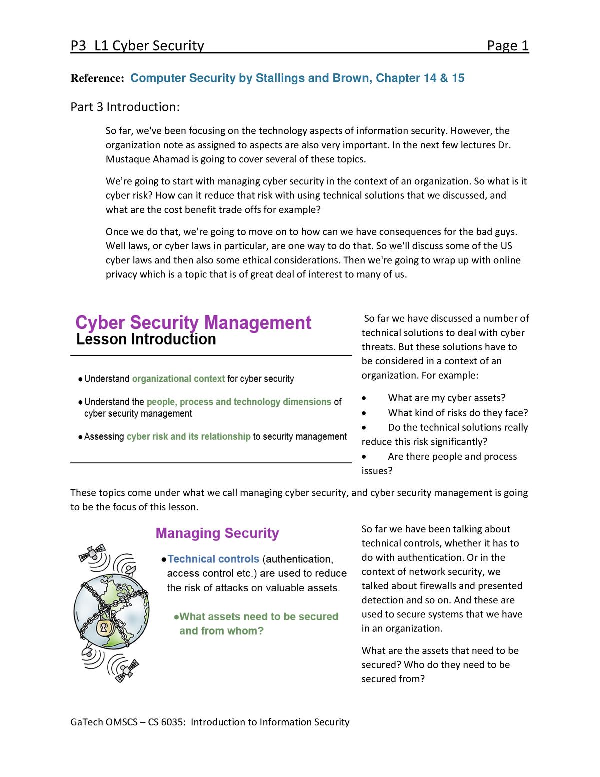 P3 L1 Cyber Security - CS 4235: Intro To Info Security - StuDocu