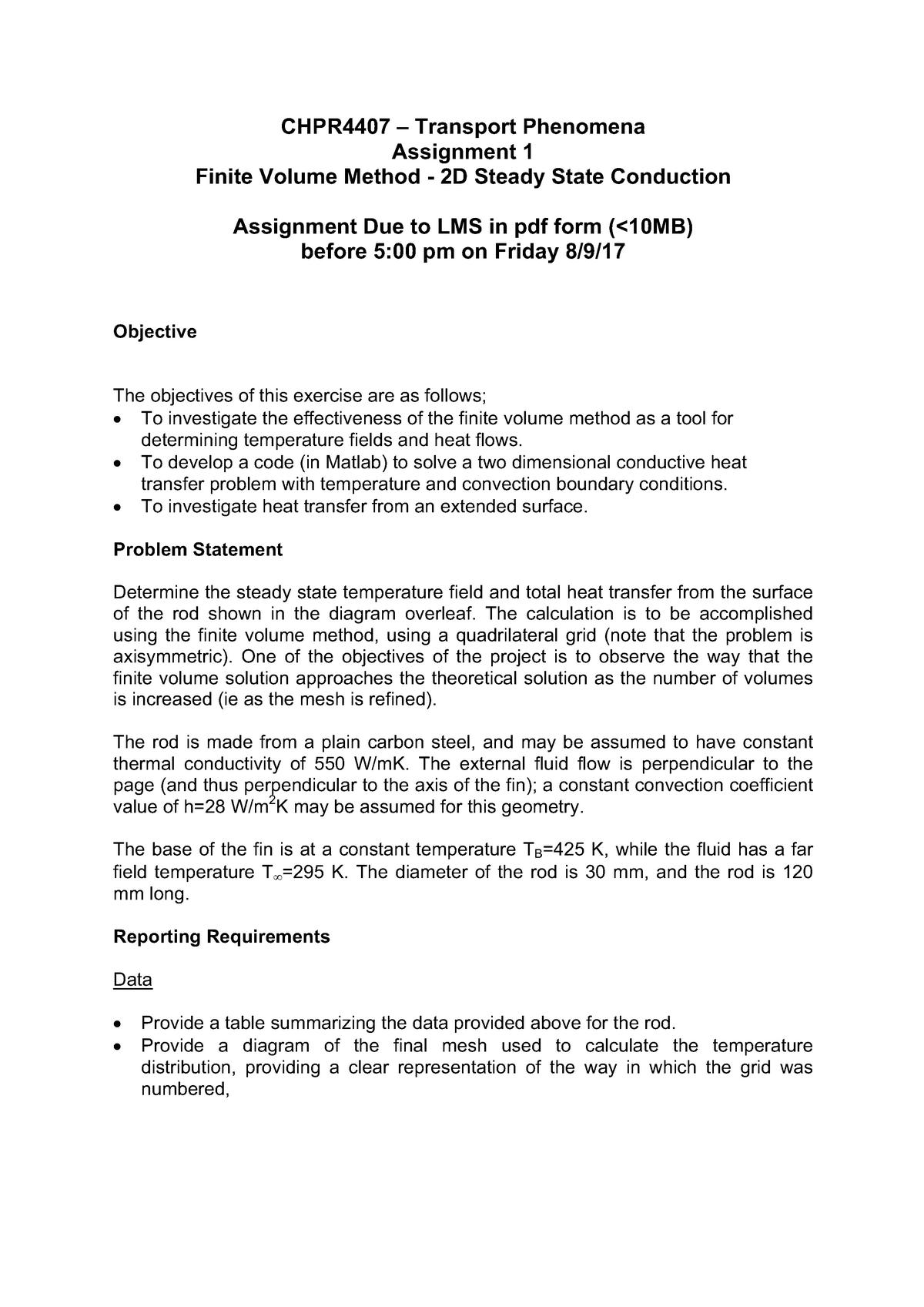 Conduction Assignment - CHPR4407 : Transport Phenomena - StuDocu