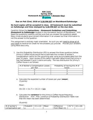 Homework #3 Spring 2018 - RMI 2101: Introduction to Risk Management
