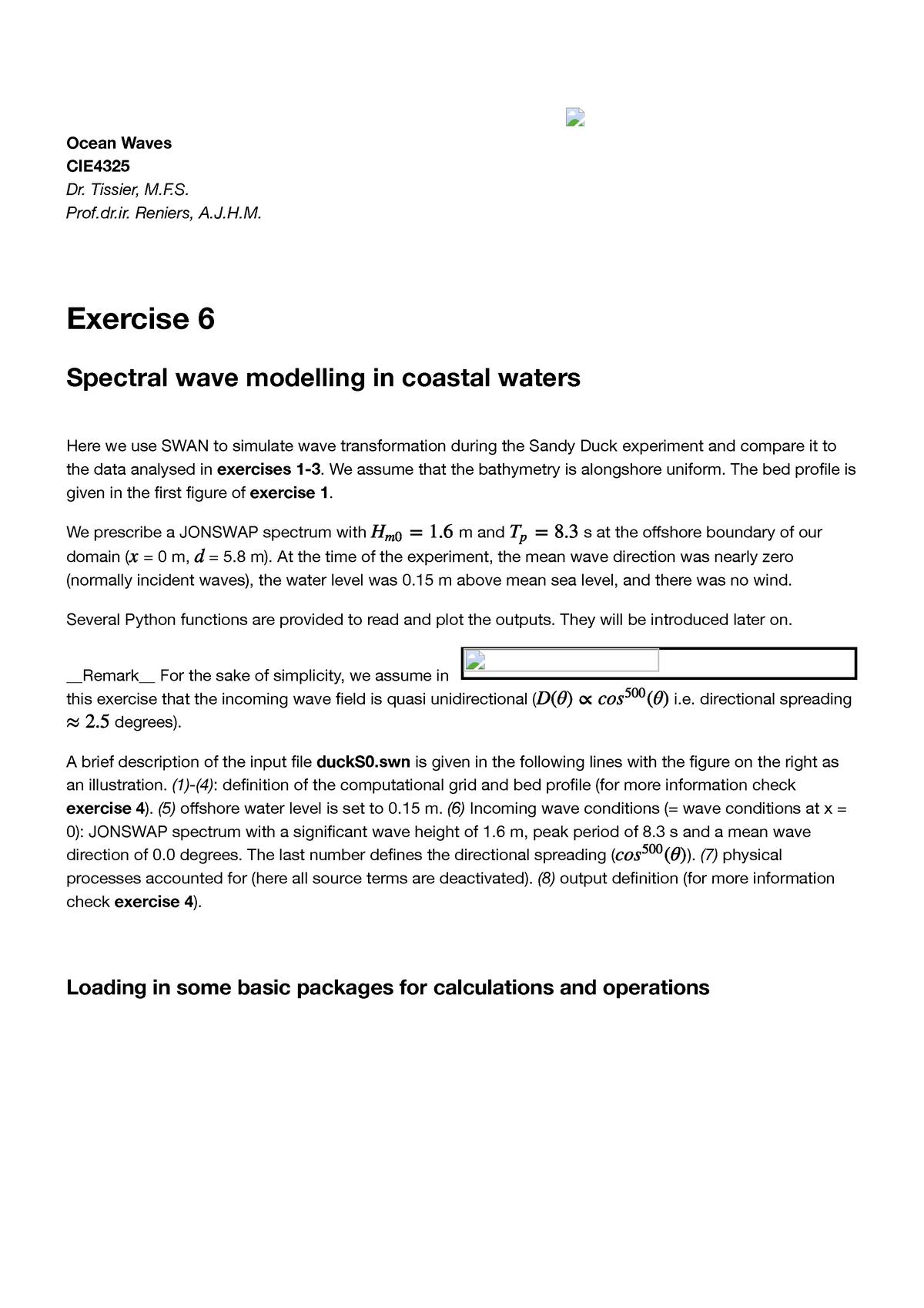 Exercise 6 - Answers to Ex 6 python mac - CIE4325: Ocean Waves - StuDocu
