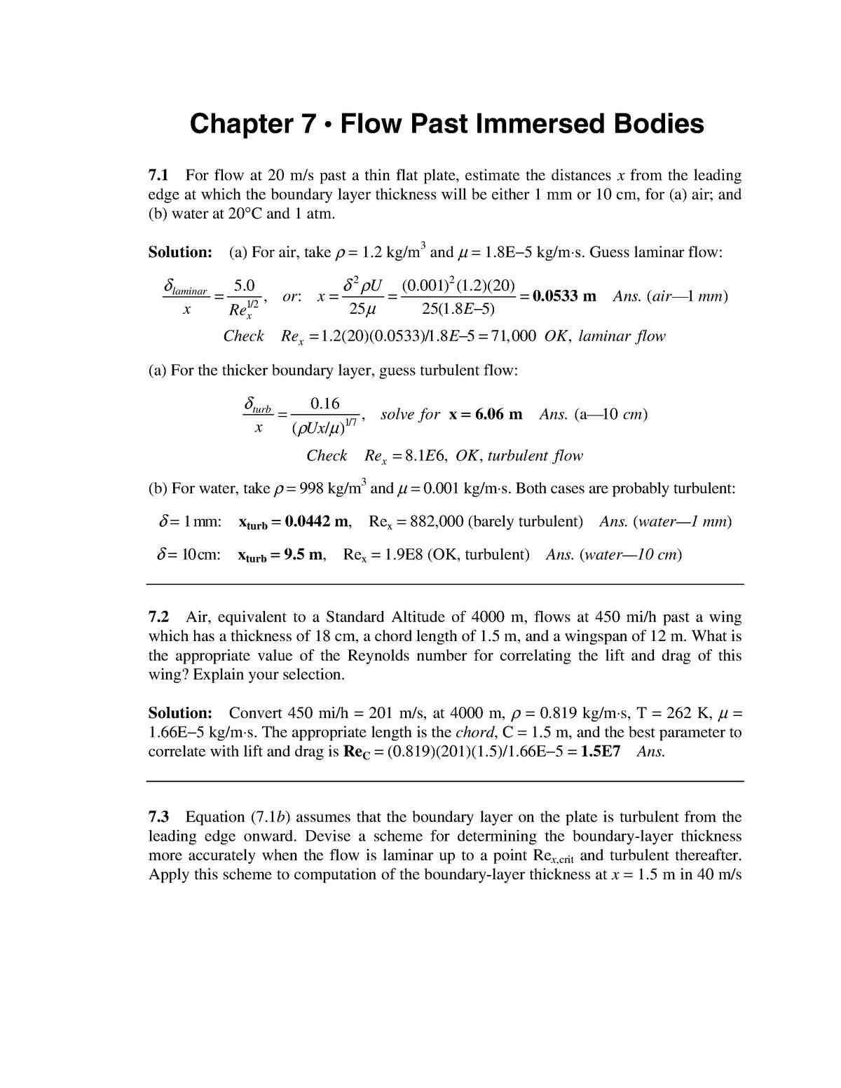 Solution Manual Fluid Mechanics White 5th CH 7 - StuDocu