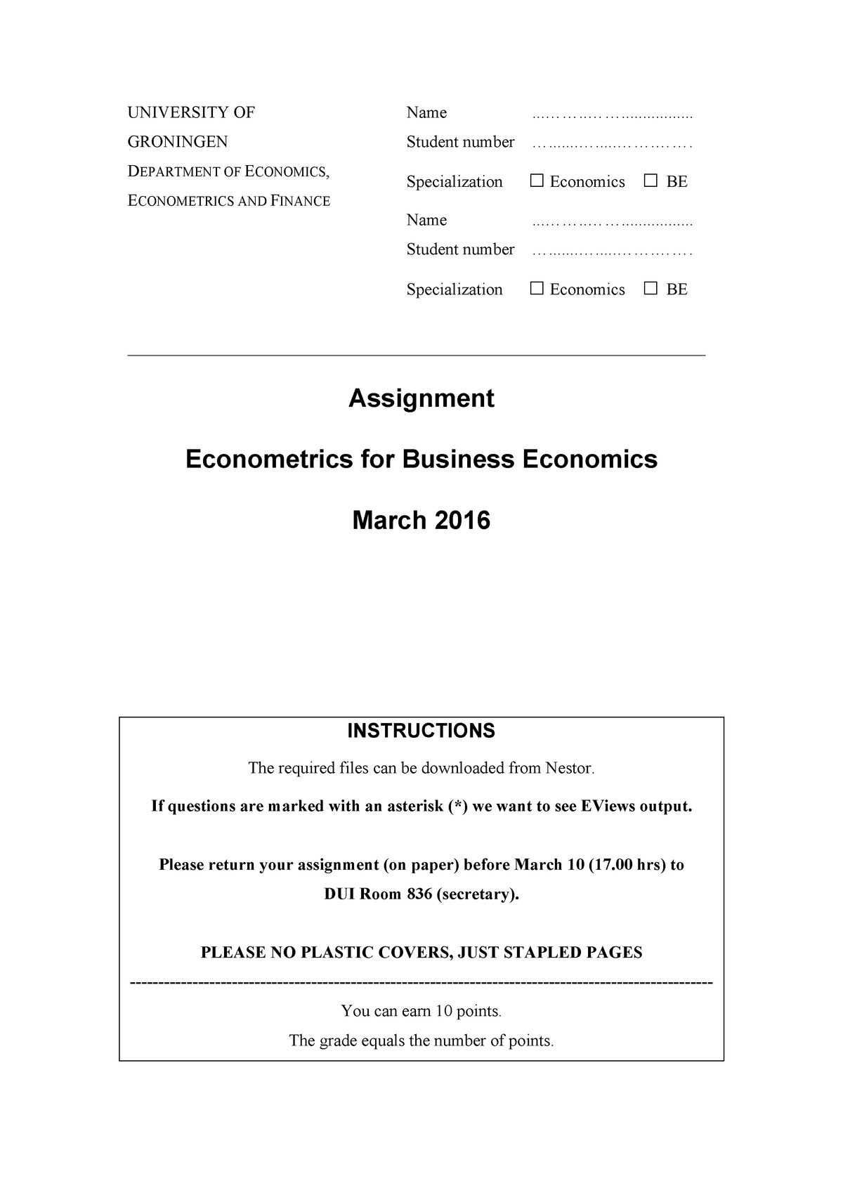 Practicum - Econometrics for Business Economics - EBB814A05