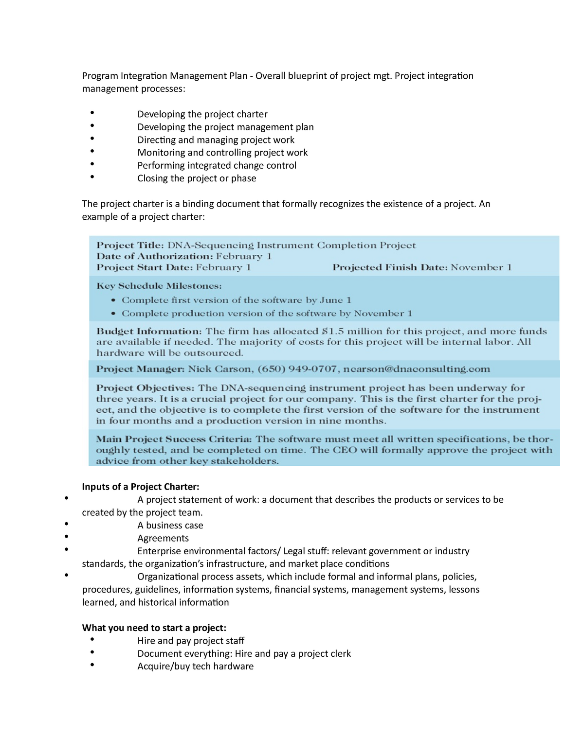Project Charter and Scope Statement - Citm 750: IS Project