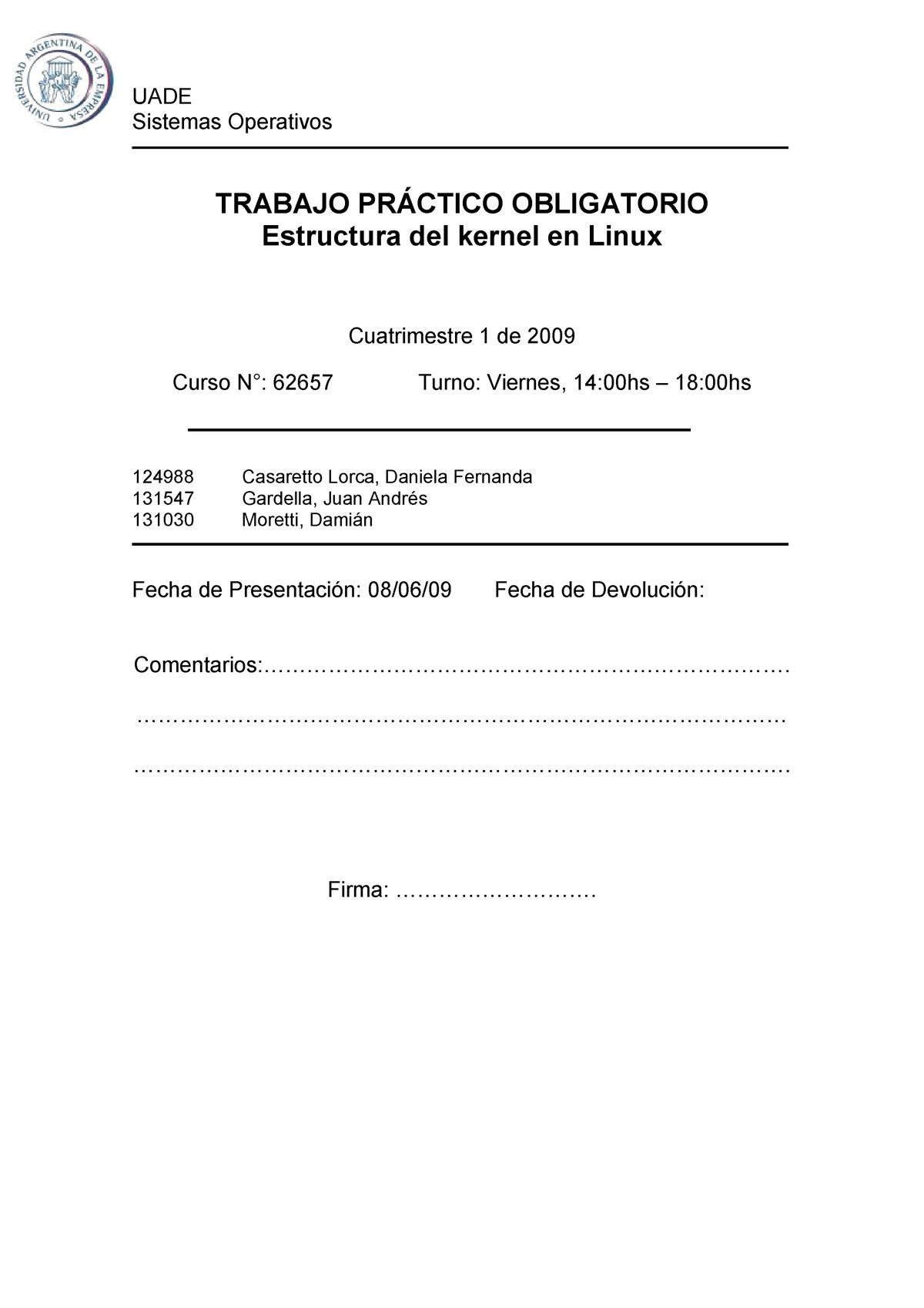 Tp Estructura Del Kernel Linux Sistemas Operativos 3 4 075