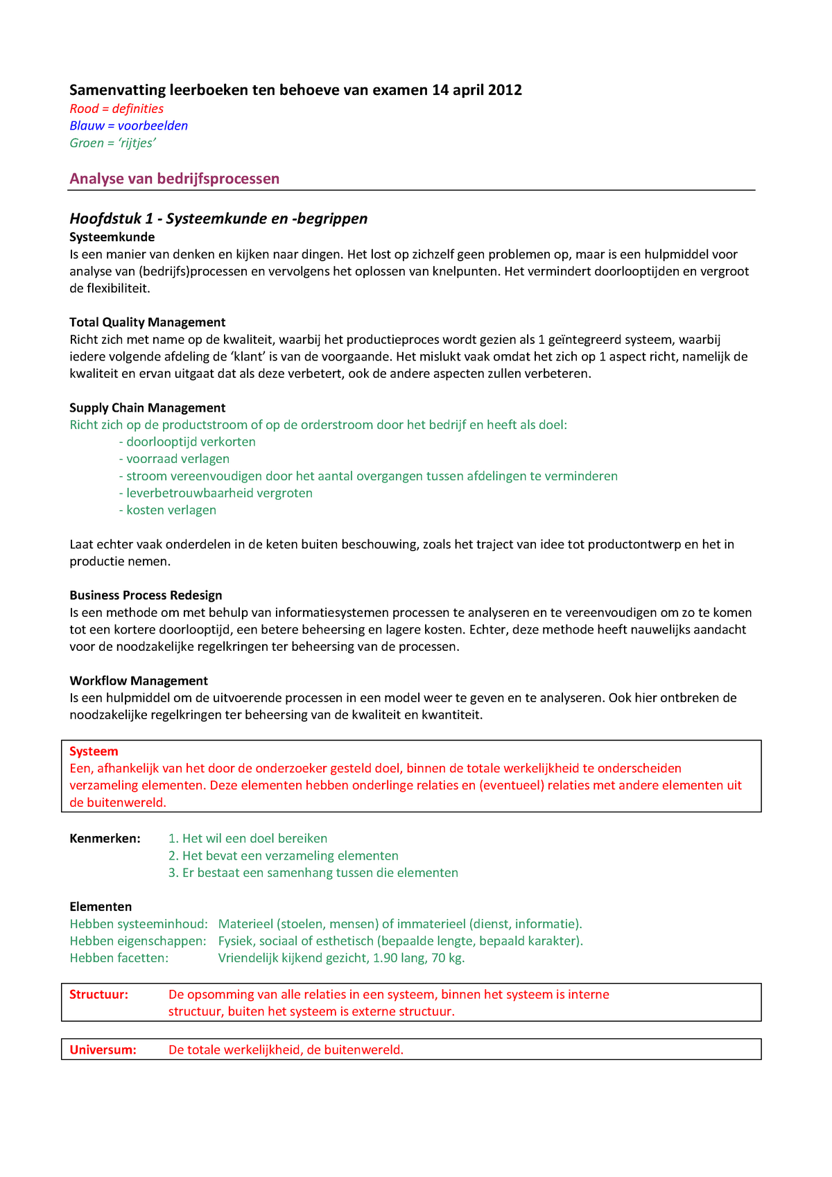 65a961840b9026 Samenvatting analyse van bedrijfsprocessen J. in 't - StudeerSnel.nl