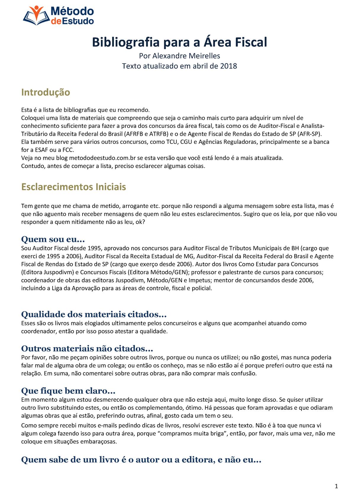 Bibliografia Area Fiscal Abr2018 Alexandre Meirelles Metodo