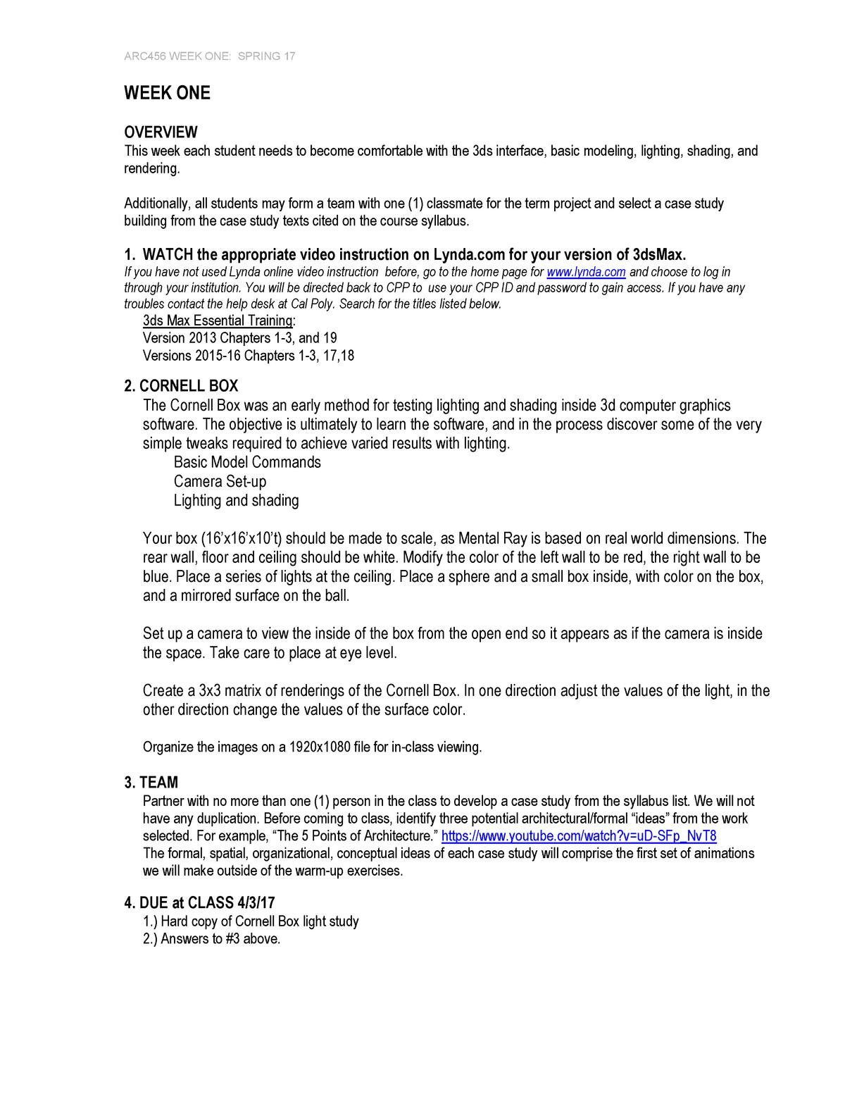 ARC456 2017 W1 - Homework Assignment W1 - ARC 456