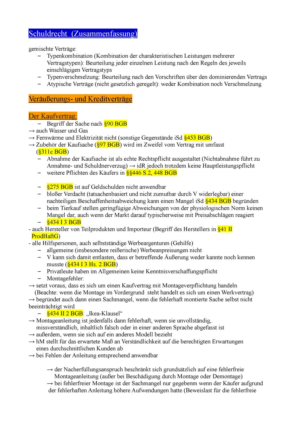 Zusammenfassung Schuldrecht Bt Ss2017 72601 Studocu