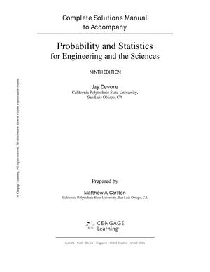 Devore Probability Statistics Engineering Sciences 8th Solution