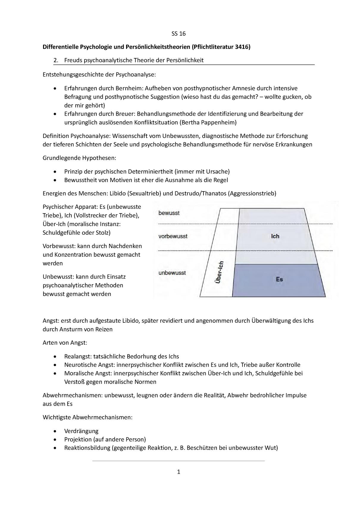 Abwehrmechanismen Freud Beispiele differentielle psychologie und persönlichkeitstheorien - studocu
