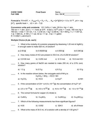 Exam 2008 - CHEM 10050: Fundamentals Of Chemistry - StuDocu