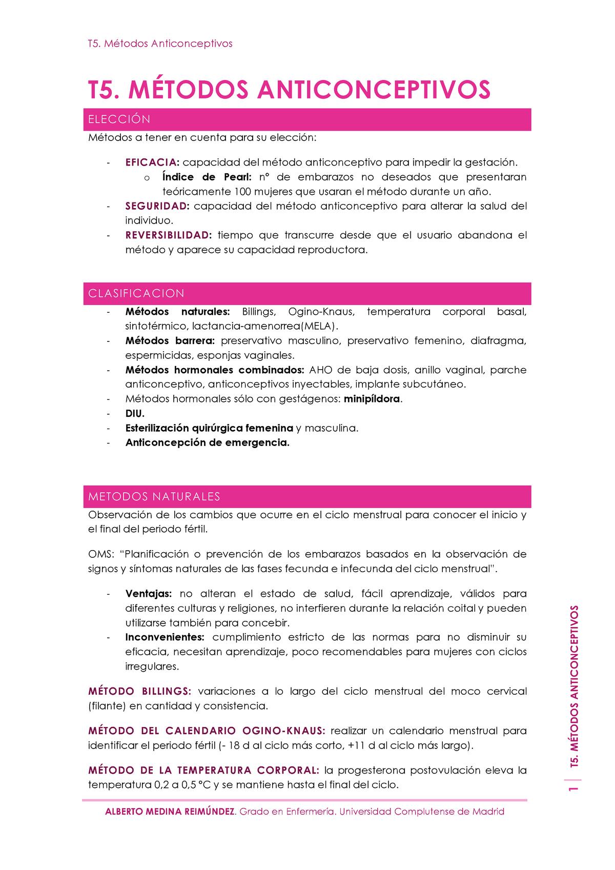 Metodo Del Calendario.T5 Metodos Anticonceptivos 801139 Enfermeria Materno Infantil