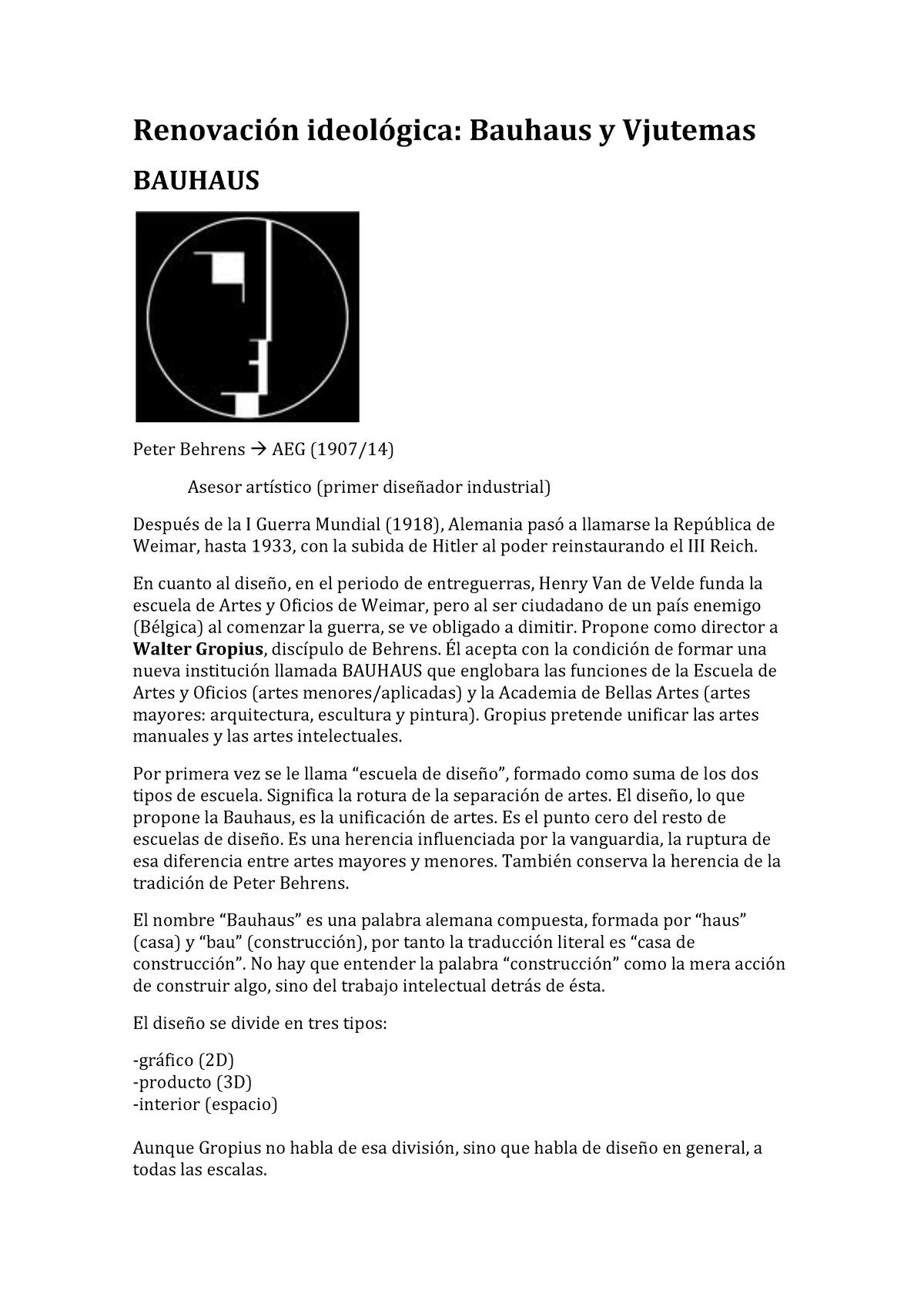 Tema 3 Renovación Ideológica Bauhaus Y Vjutemas 10283