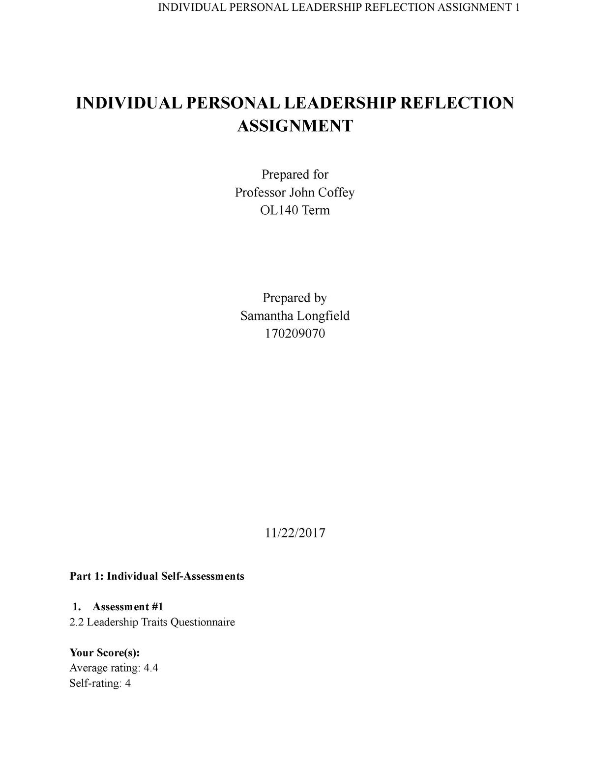 OL140 Self Assessment - Professor: Dr  Coffey - OL140