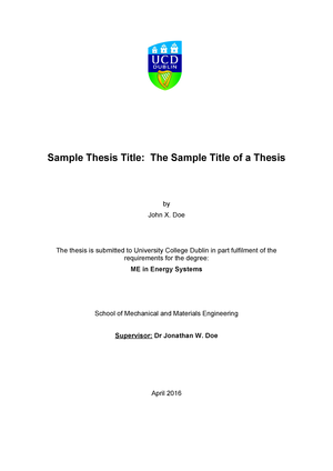 ME Thesis Template 2015 - BMOL40350: Strategy and Project