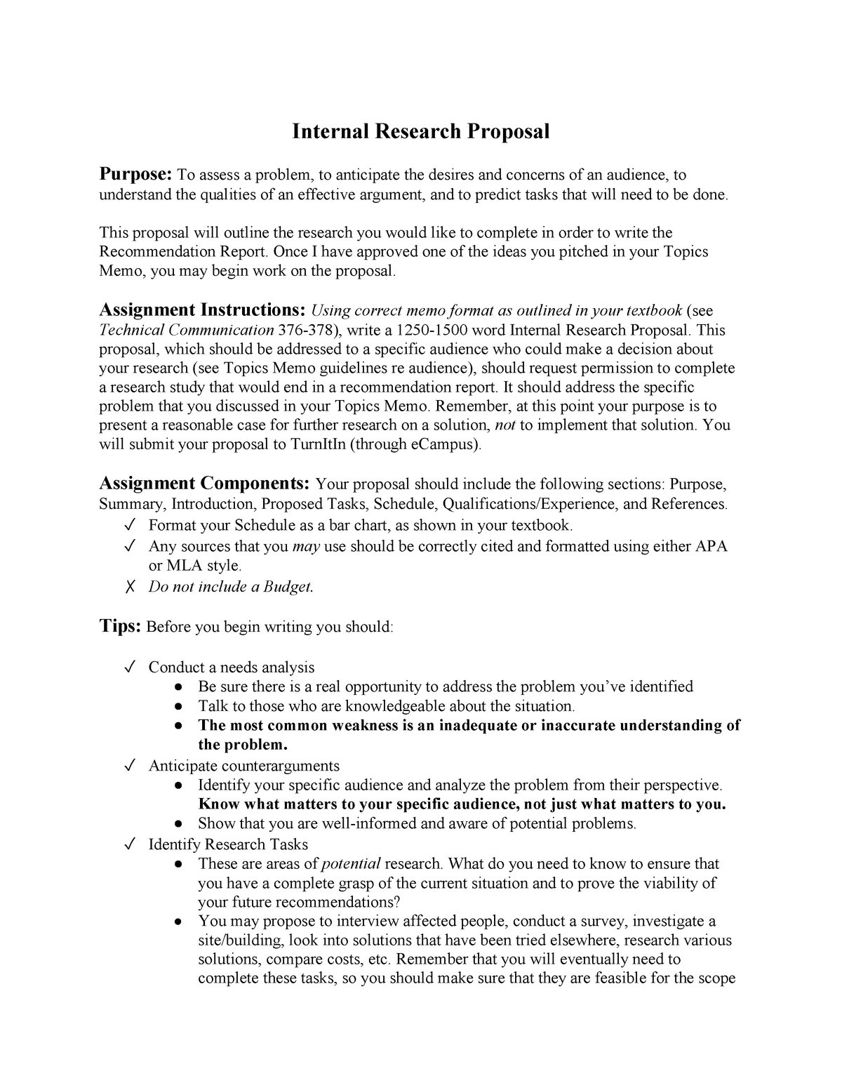 Internal Research Proposal Assignment Sheet - ENGL 210 - StuDocu