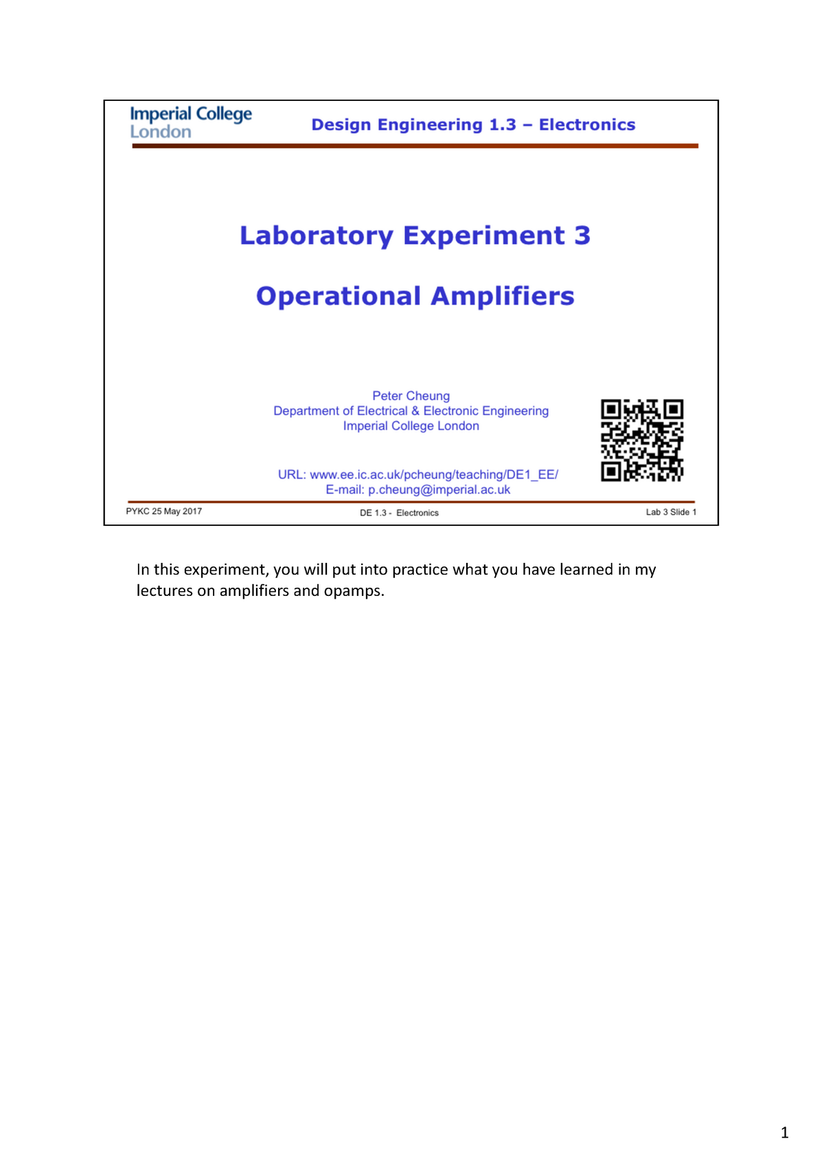 2016-2017 Lab 3 - Operational Amplifiers - DE1 3