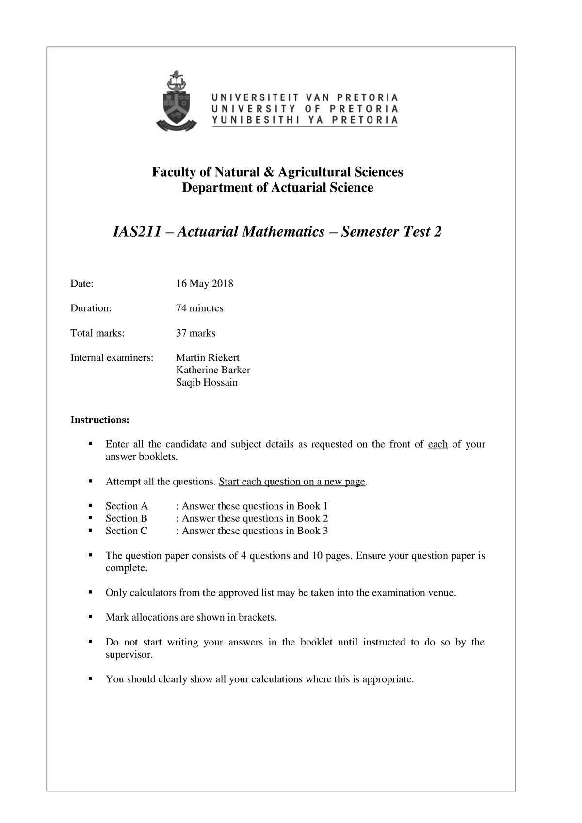 Exam 2018 - IAS 211: Actuarial Mathematics - StuDocu