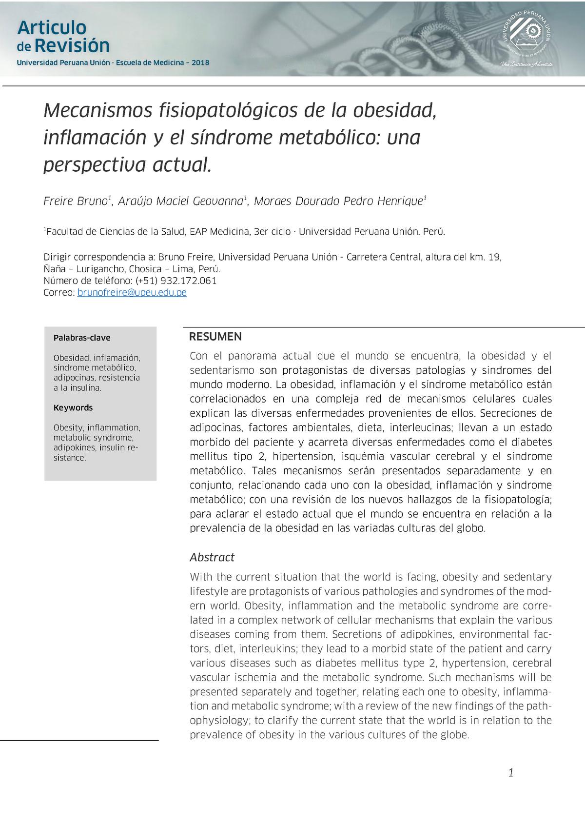 adipocinas e inflamación en obesidad y diabetes