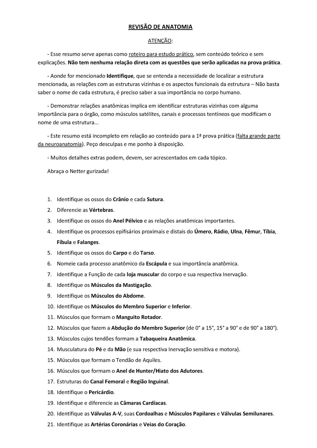 Revisão de Anatomia I - Unidade Morfológica MOR0256B - UCS
