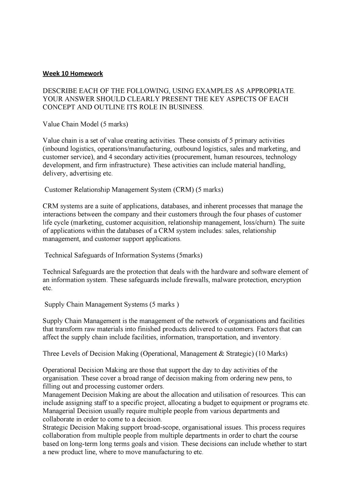 Week 10 Homework - 1602: INFS - StuDocu