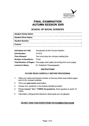 Exam 2009, questions - 101272 Introduction to Tourism system
