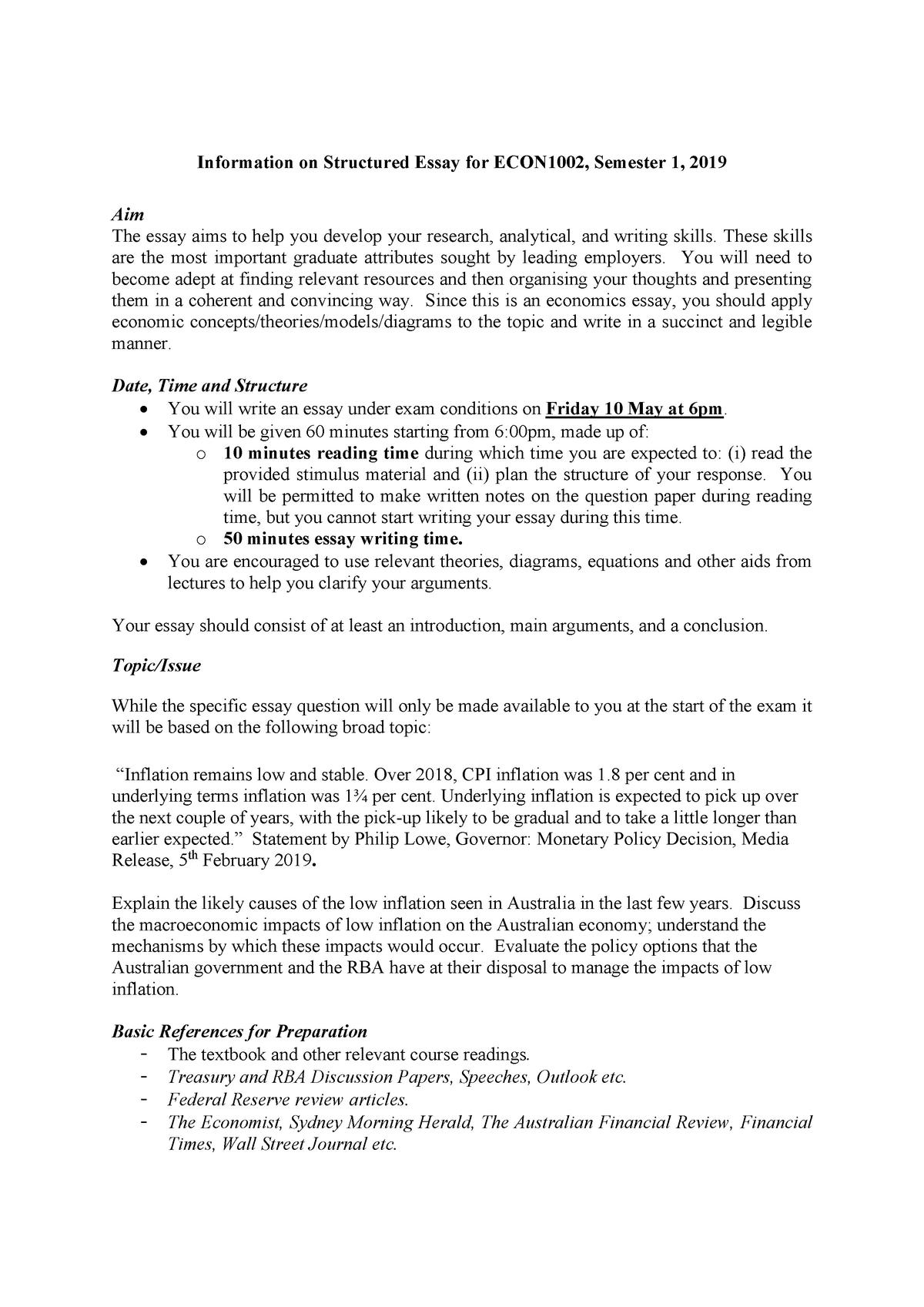 Information on Structured Essay Sem 1 2019 - ECON1002 - USyd