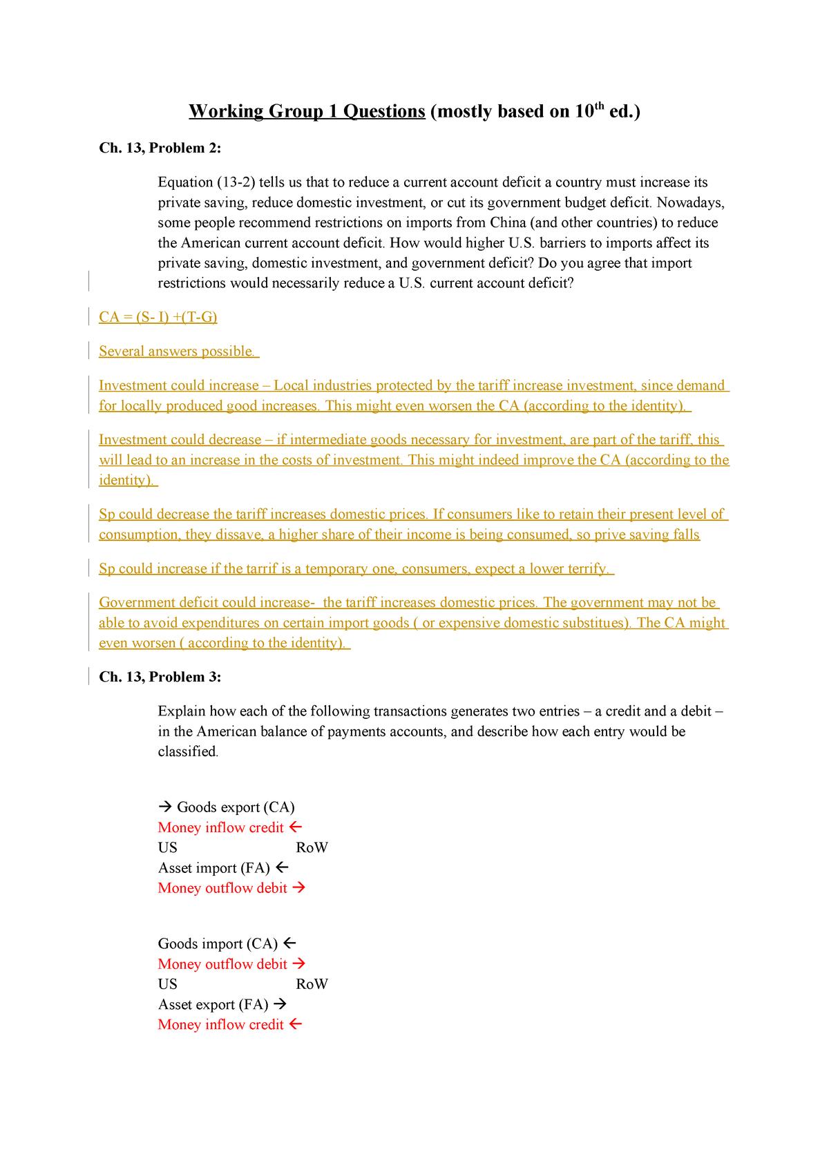 Working Group 1 Questions + awnsers - MAN-BCU2021: International