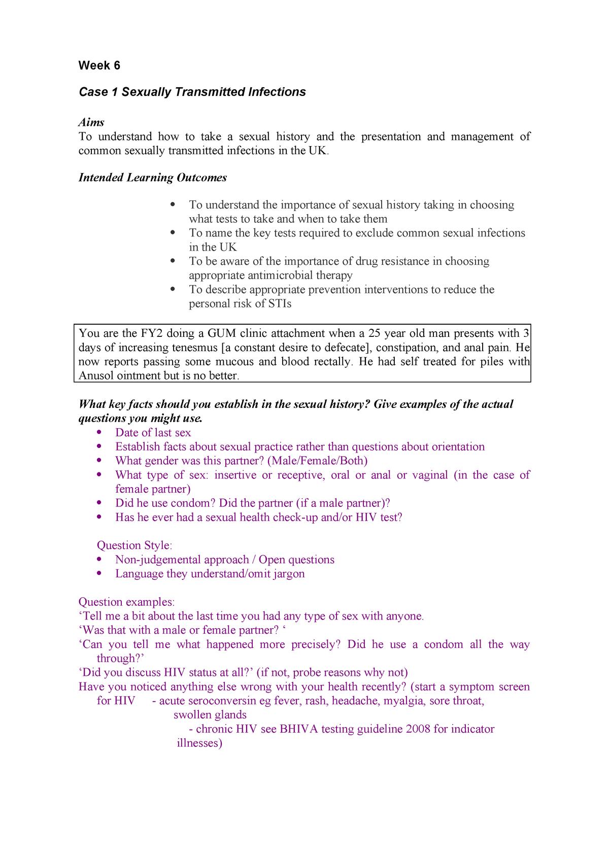 CBL Case 1 STI notes - MBCHB Year 4 MED4004 - Gla - StuDocu