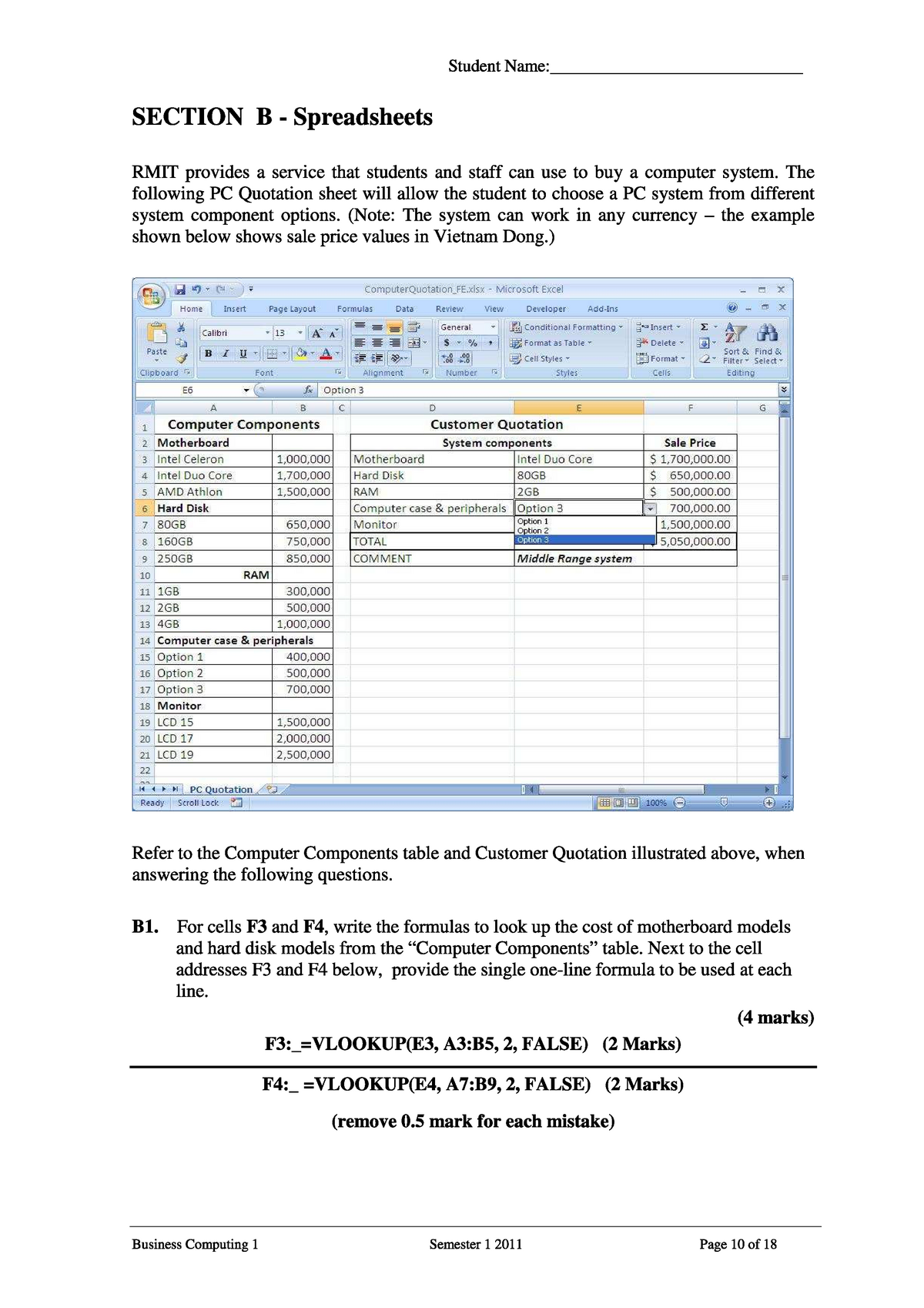 Exercises with answers about Access and Excel pdf - ISYS2056
