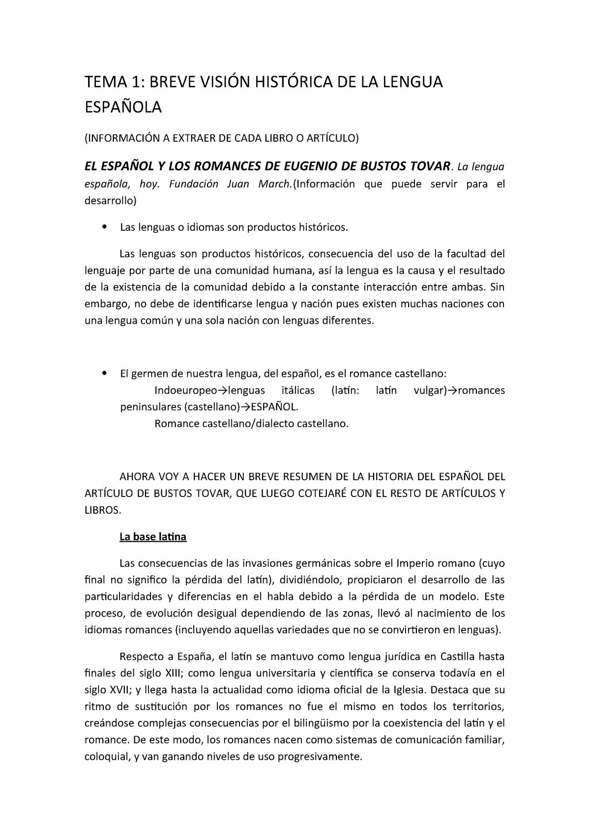 El Español Y Los Romances De Eugenio De Bustos Tovar Studocu