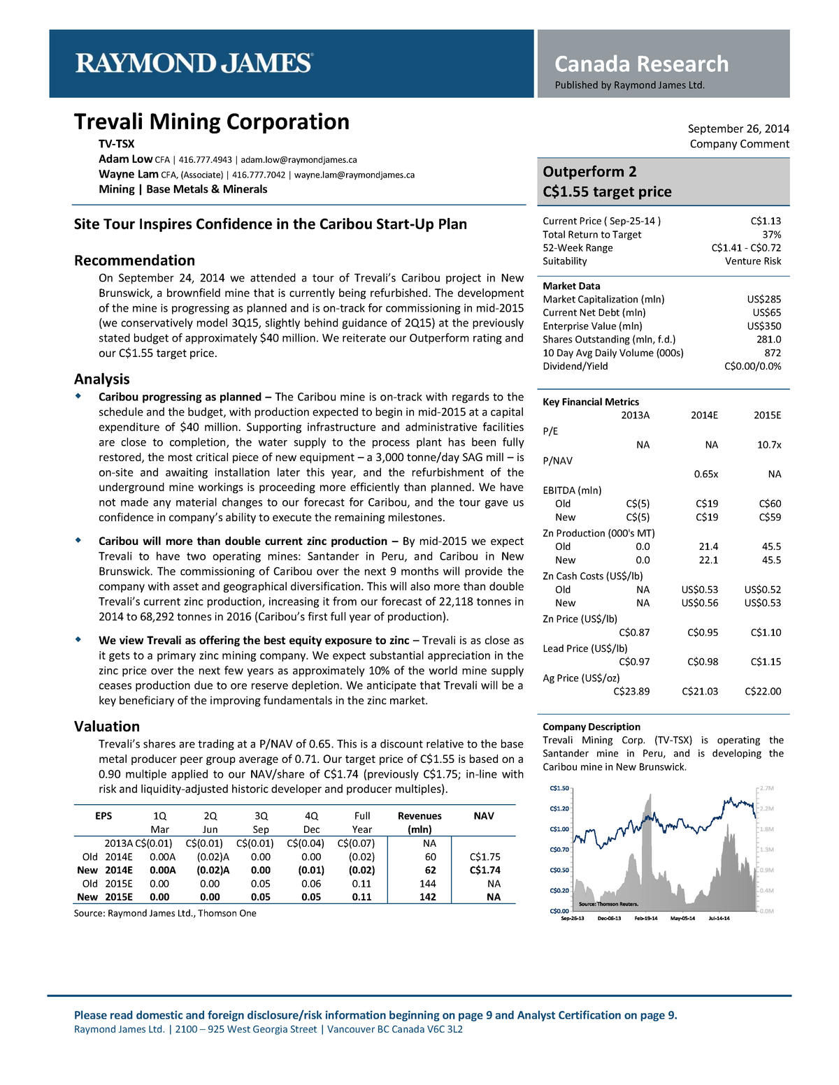 Raymond James - Trevali Mining Corp - Bus 315: Investments