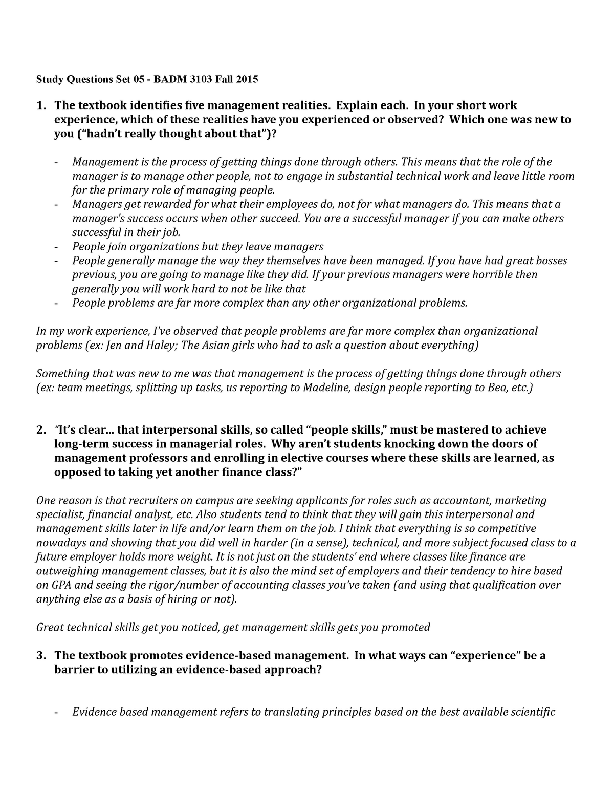 Study questions 5 - One of many mandatory lengthy homework