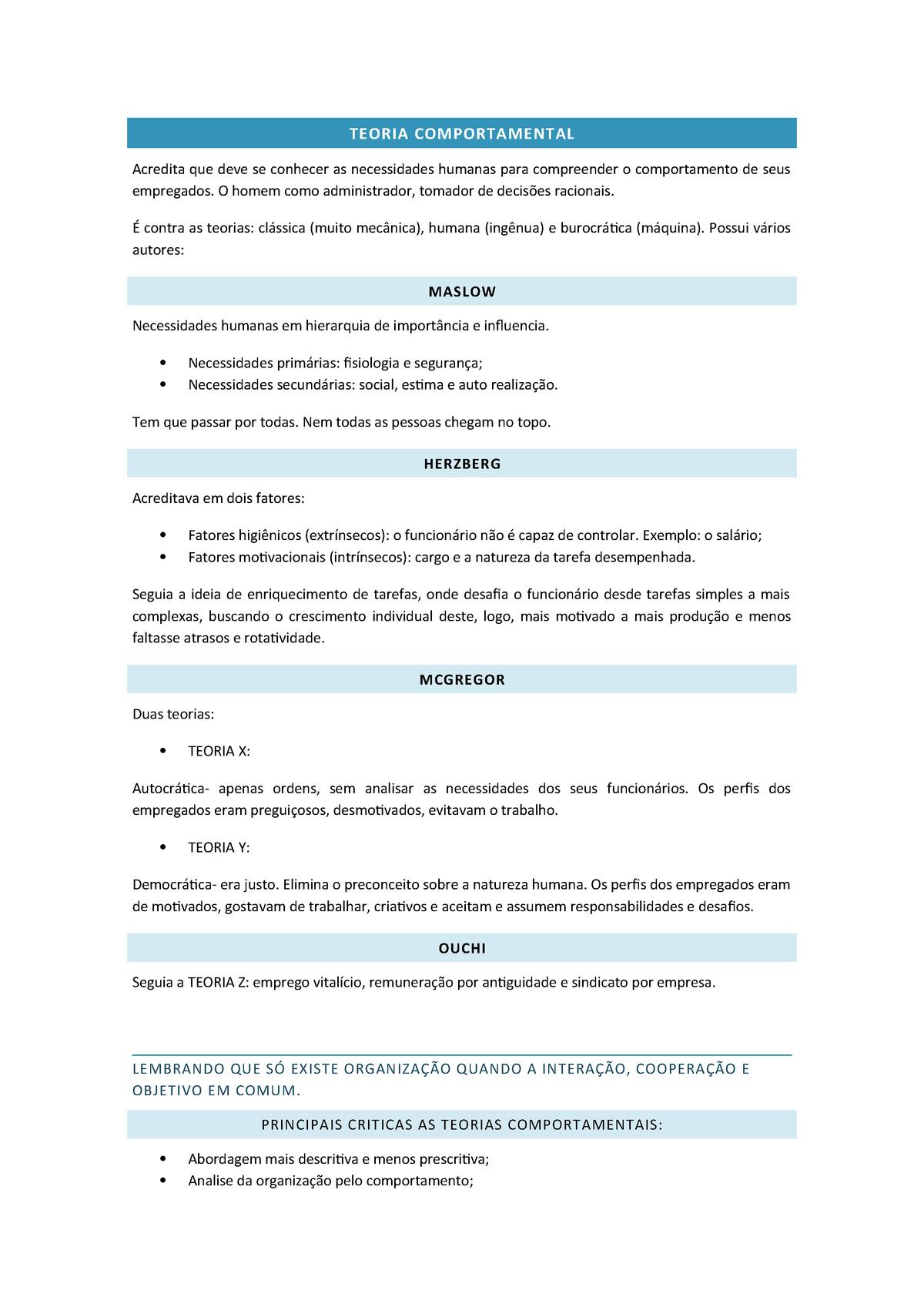 Teoria Comportamental Pesquisa Em Administração Adm622