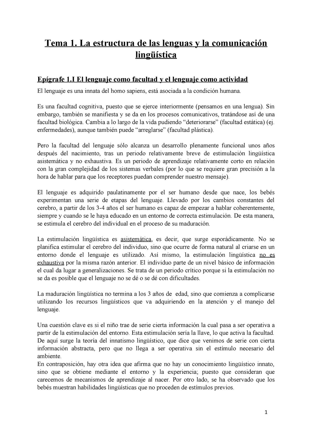 Tema 1 La Estructura De Las Lenguas Y La Comunicación