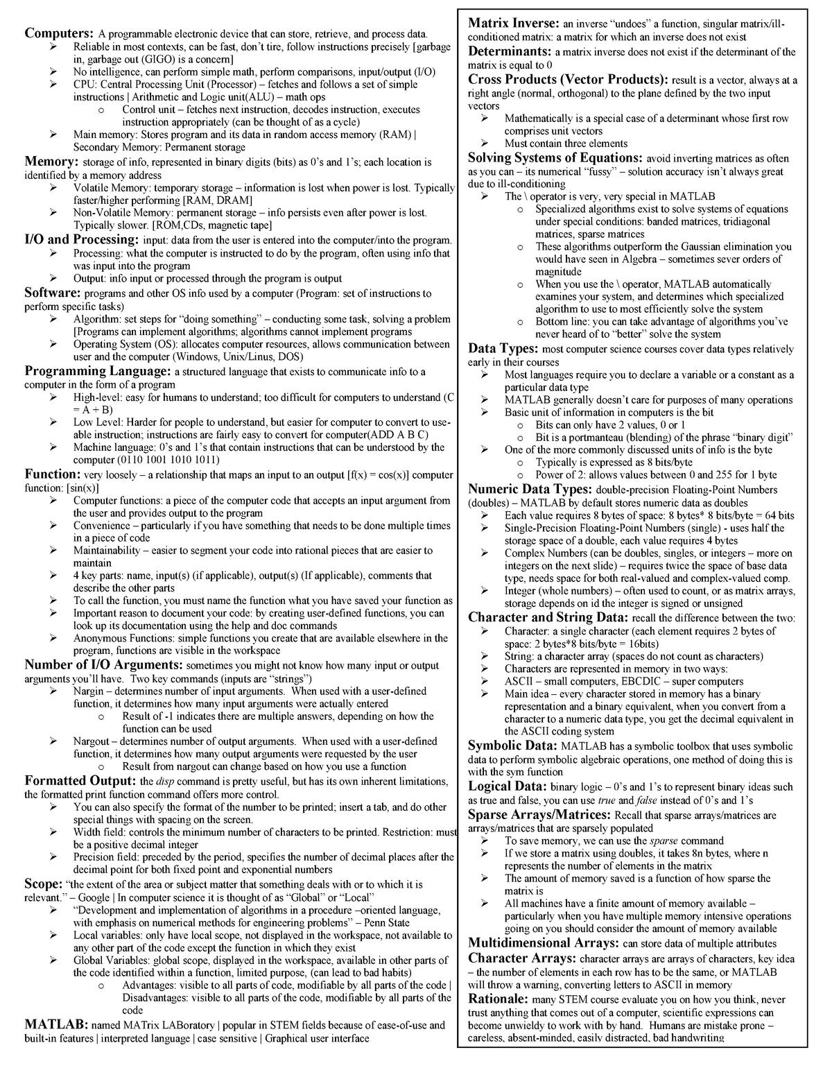 Compsci cheat final - CMPSC 200 - StuDocu