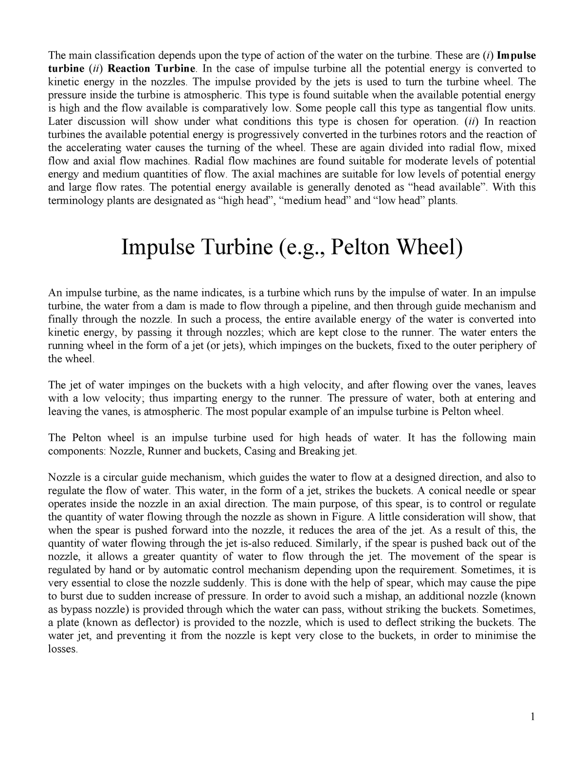 Applied Fluids and Thermodynamics Impulse Turbine, 6 lecture