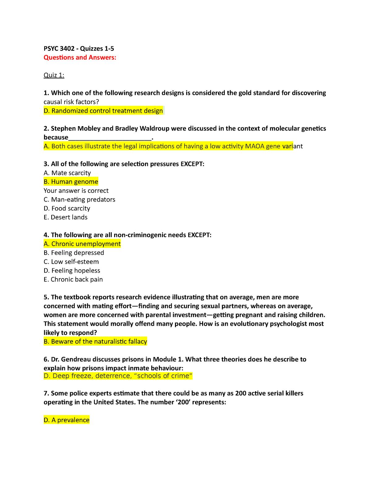 Quiz Answers For Quizzes 1 5 Studocu