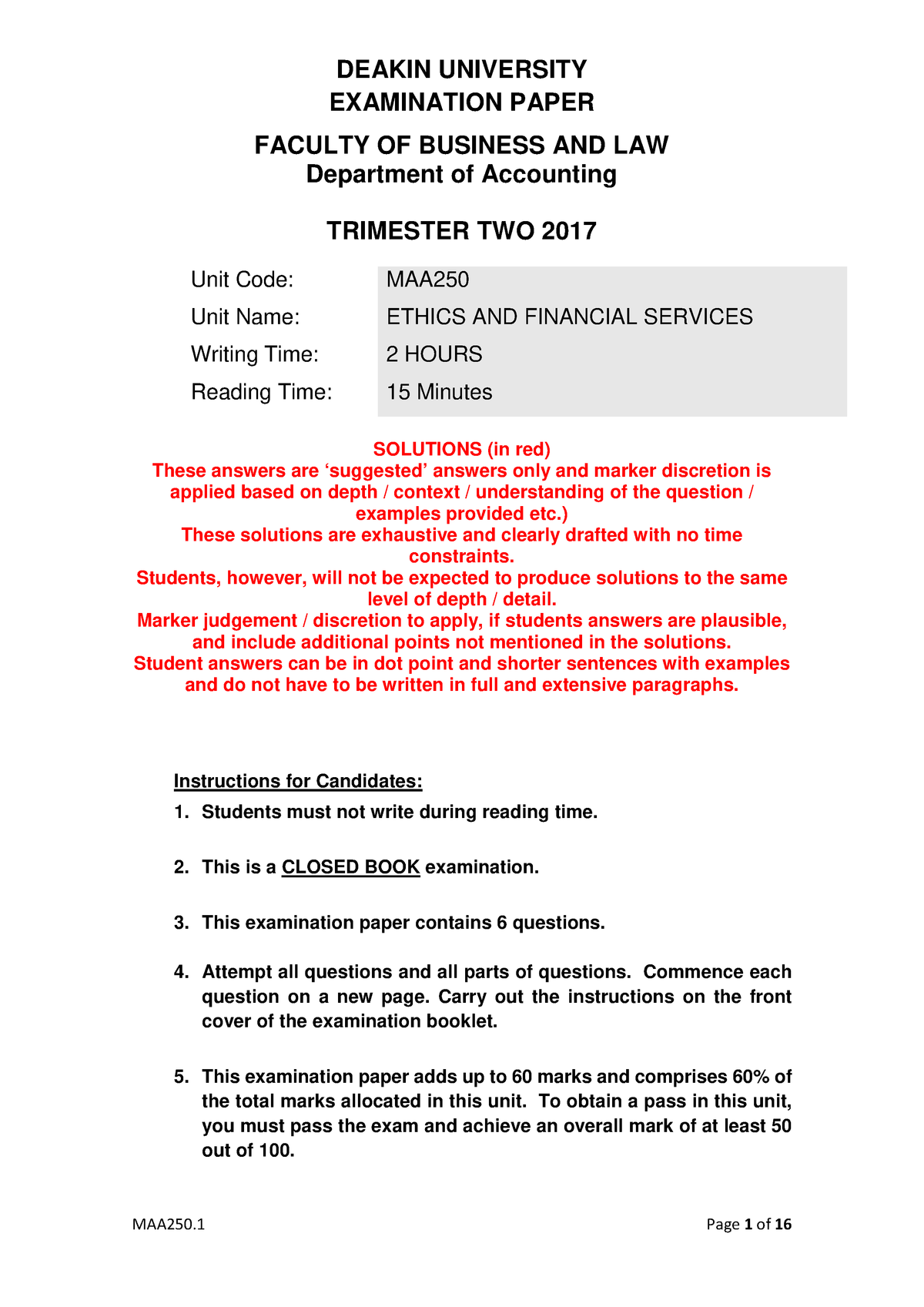 2017 T2 MAA250 Exam 1 solutions - M300 Bachelor of commerce