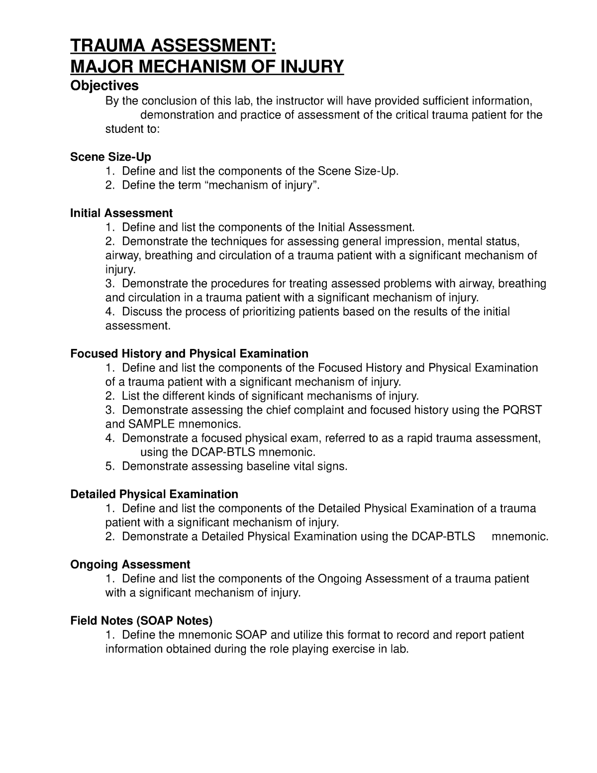 09-PA- Major - Notes on - KIN 685 Emer Med Care: Emt Lab
