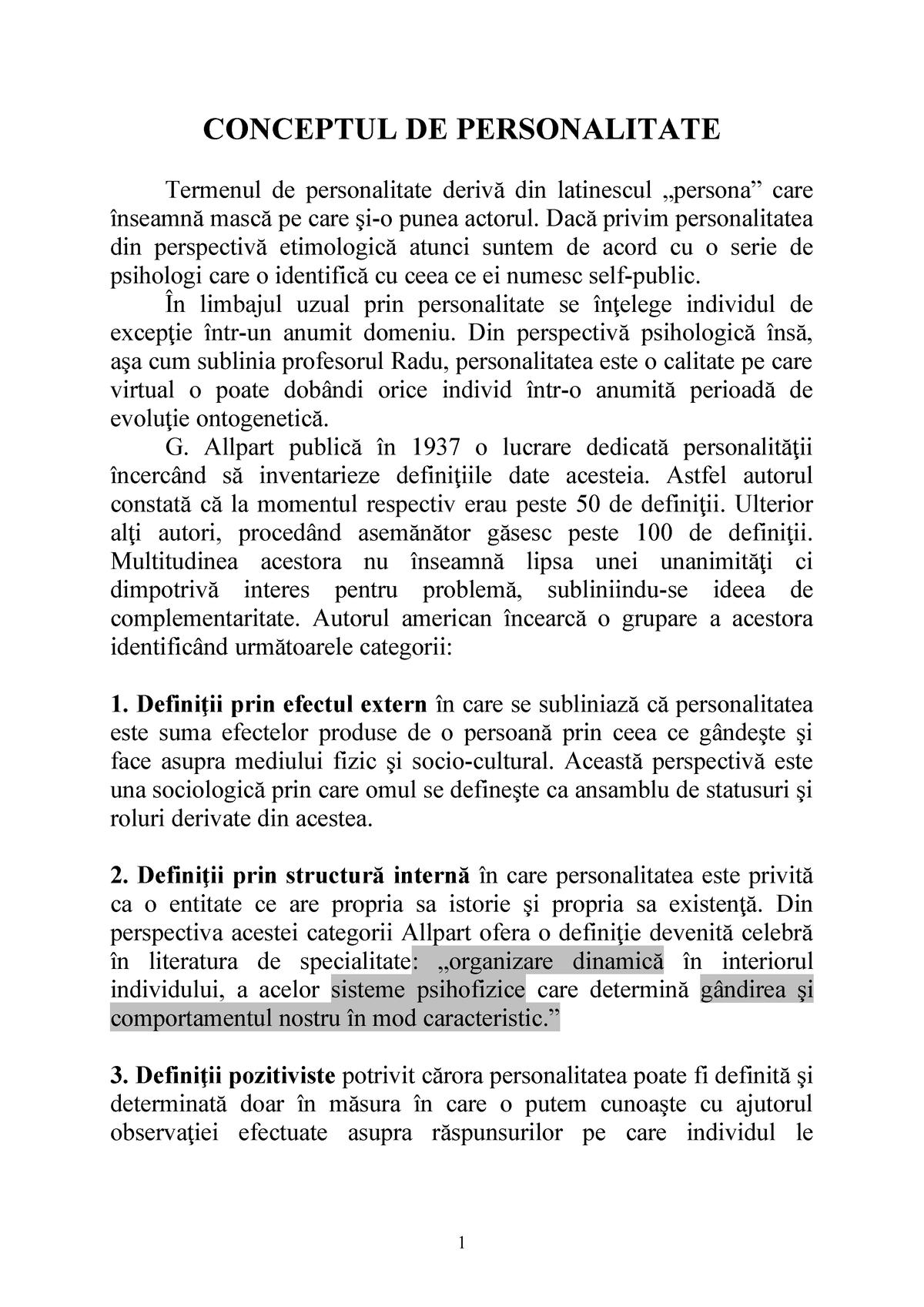 Conceptul de personalitate referat psihologie