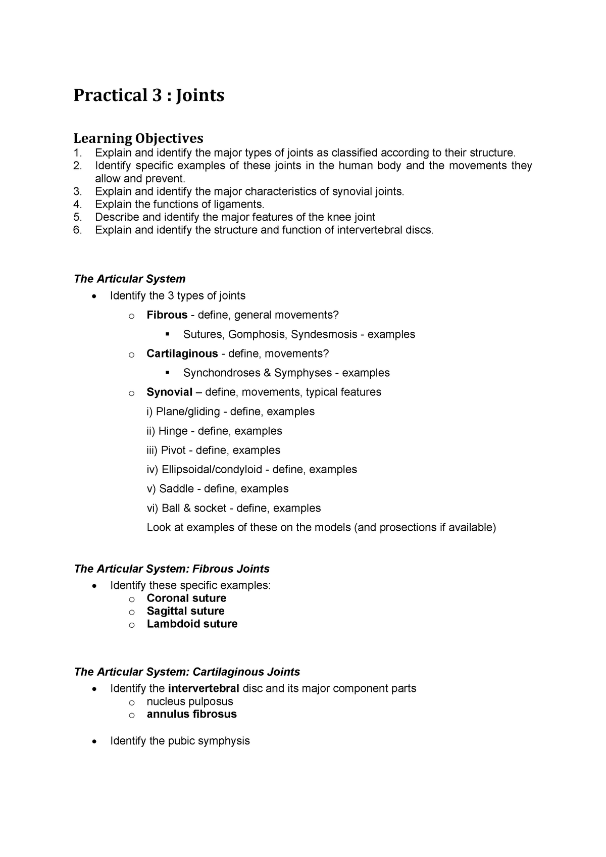 Practical 3 Self Review Worksheet Studocu The epiphyseal plate is an example of a ___ joint and later fuses to become a ___ joint. practical 3 self review worksheet
