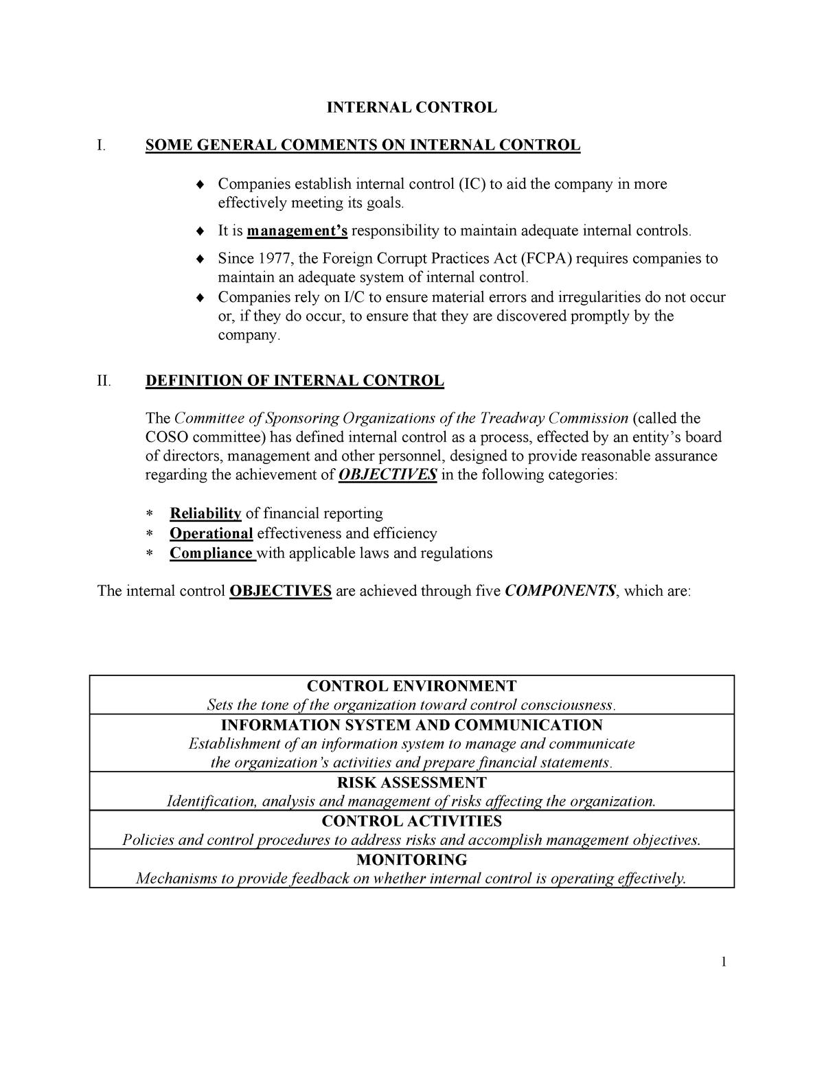 05generalinternalcontrol-notes sky - ac210: Audit - StuDocu
