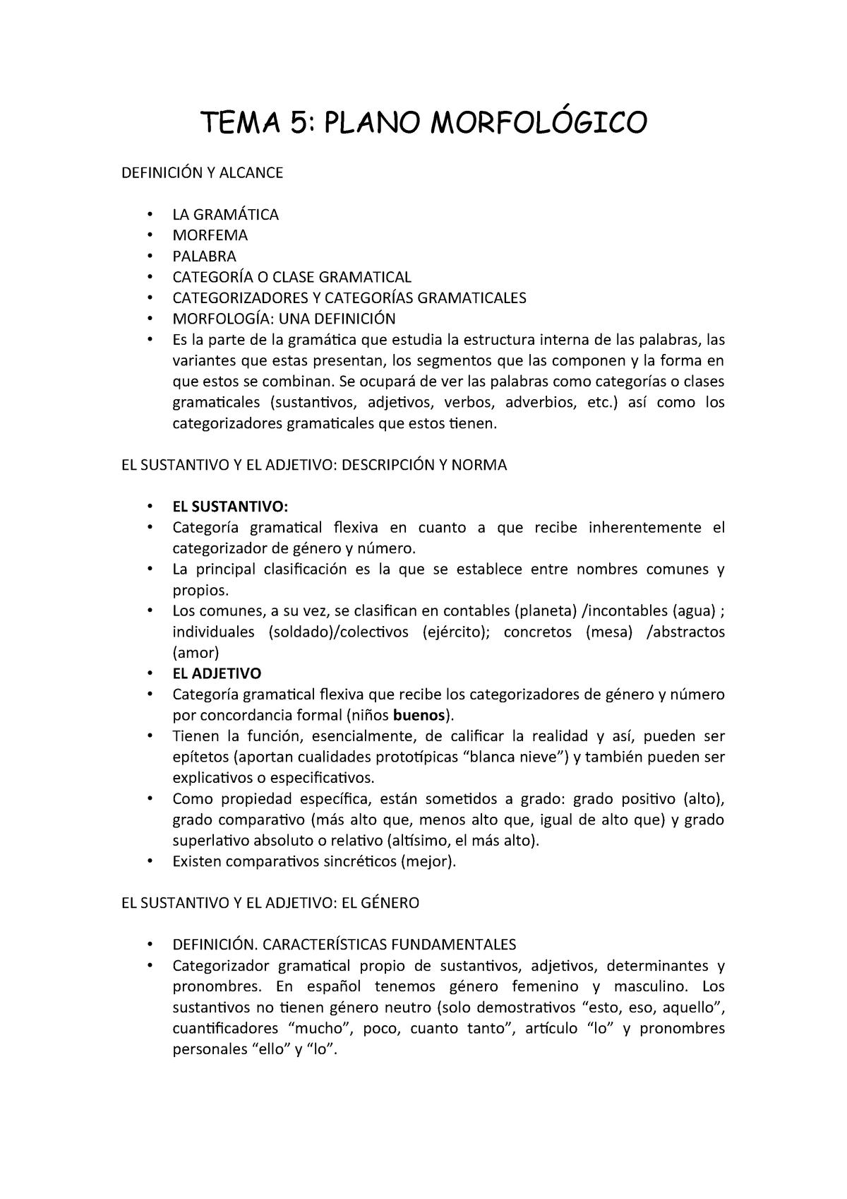 Tema 5 Lengua Apuntes 5 32077 Studocu